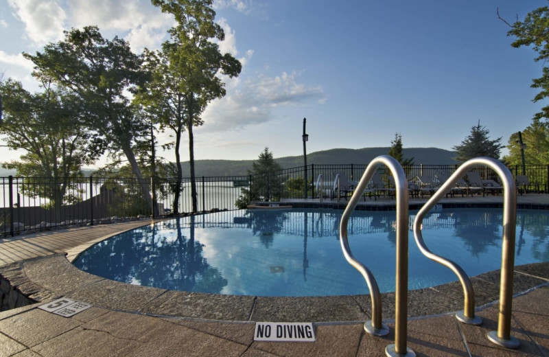 Outdoor pool at The Lodges at Cresthaven on Lake George.