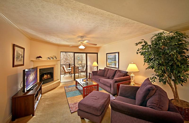 Vacation rental living room at SmokyMountains.com.