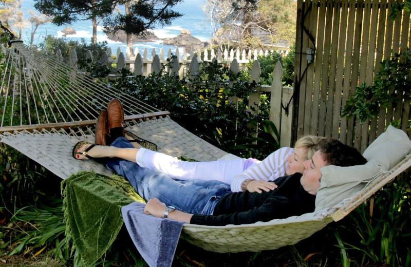 Couple in hammock at Agate Cove Inn.