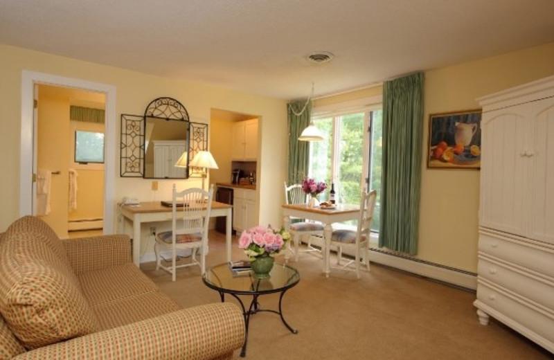 Guest room interior at Cranwell Resort.