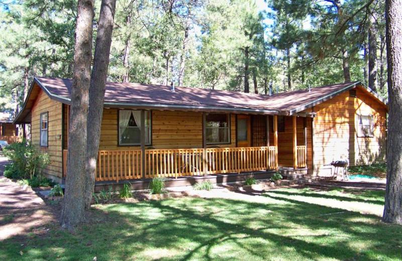 Cabin exterior at Lazy Oaks Resort.