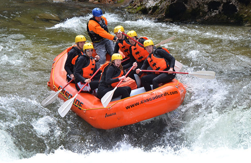 River rafting at Sourdough Lodge.