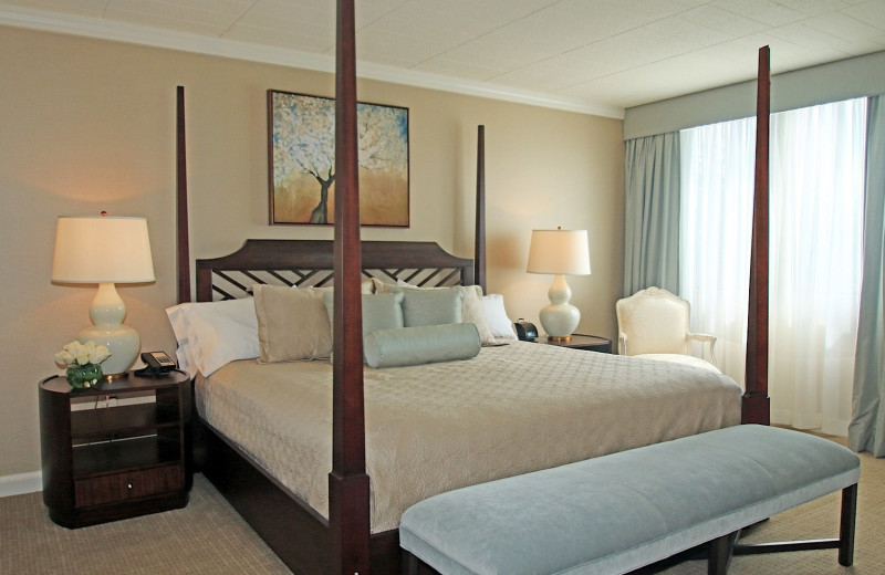 Guest room at Ethan Allen Hotel.