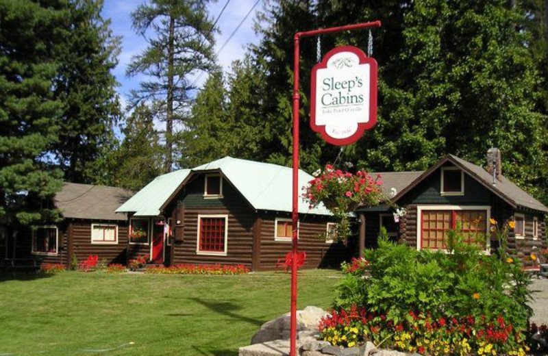 Cabin exterior at Sleep's Cabins.