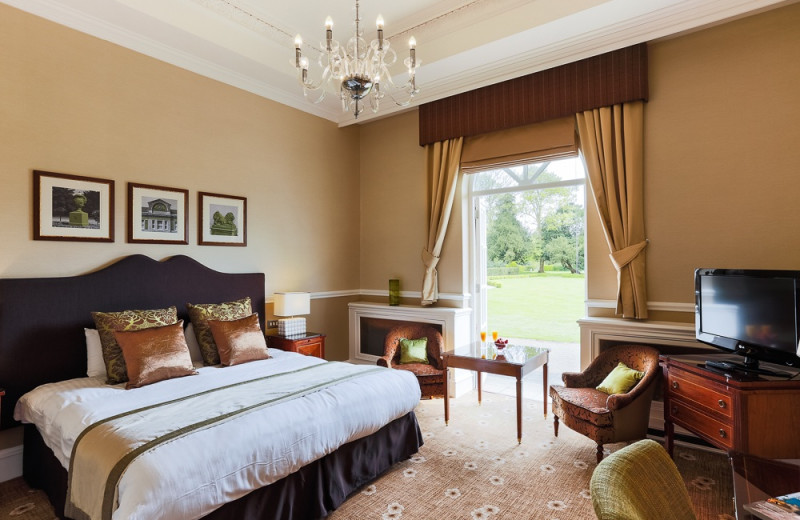 Guest room at Down Hall Country House Hotel.