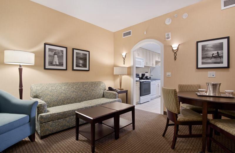 Suite interior at Hilton Suites Ocean City Oceanfront.