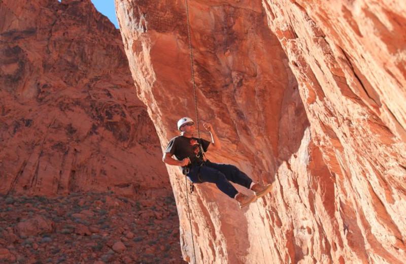 Rock climbing at Big Rock Candy Mountain Resort.