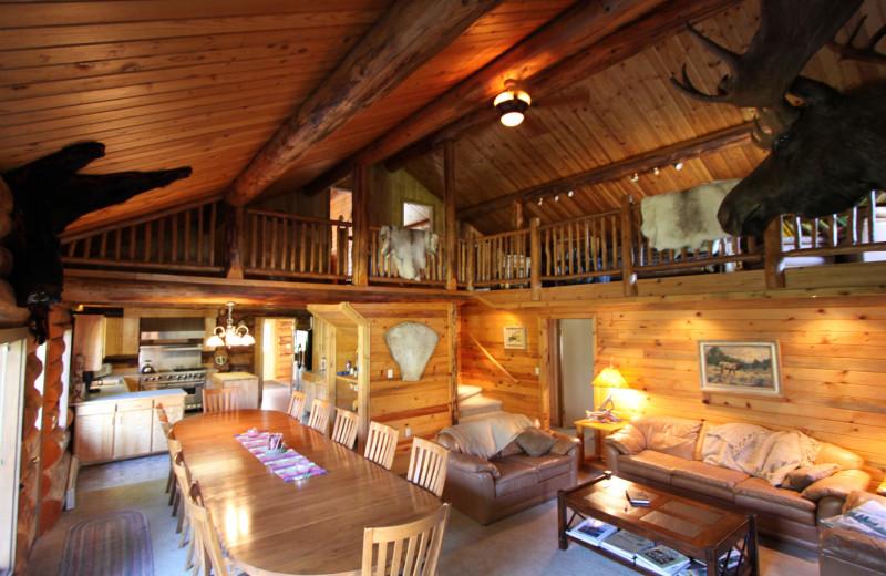 Main Lodge interior at Alaska Heavenly Lodge.