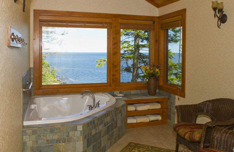 Guest hot tub at Lutsen Resort on Lake Superior.