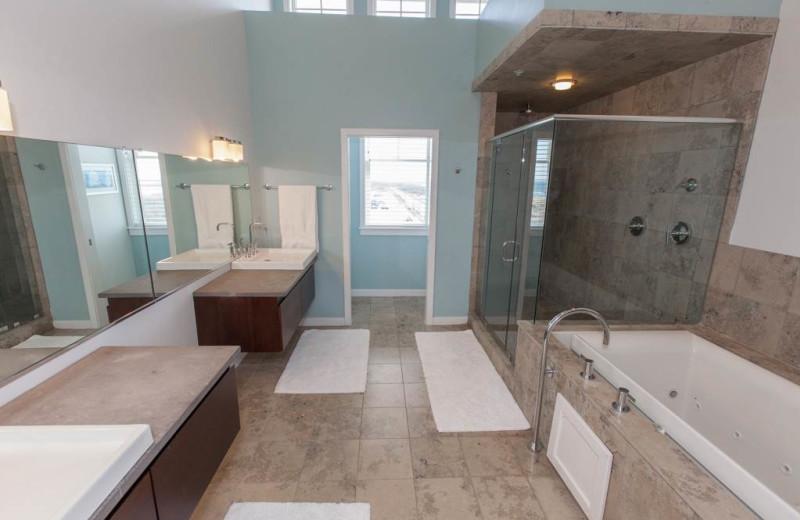 Rental bathroom at Sanctuary Vacation Rentals at Sandbridge.