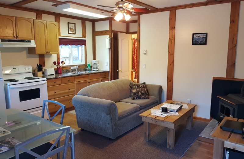 Cabin interior at Expanse Cottages.
