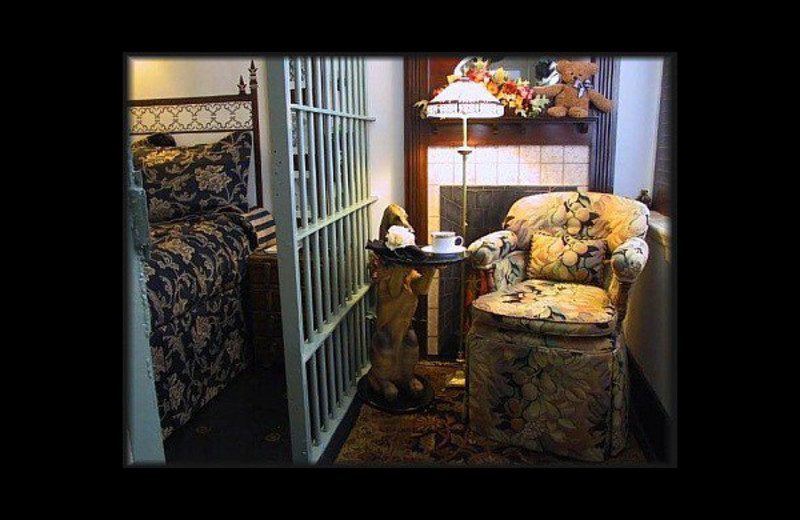 Guest room at Sierra Madres's Jailhouse Inn.