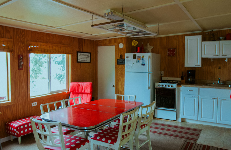 Cabin kitchen at Jacob's Cove.