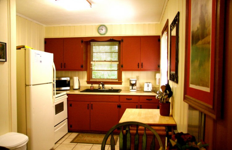 Cabin kitchen at Linville Cabins.
