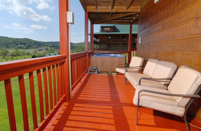 Deck view at Fireside Chalets & Cabin Rentals.