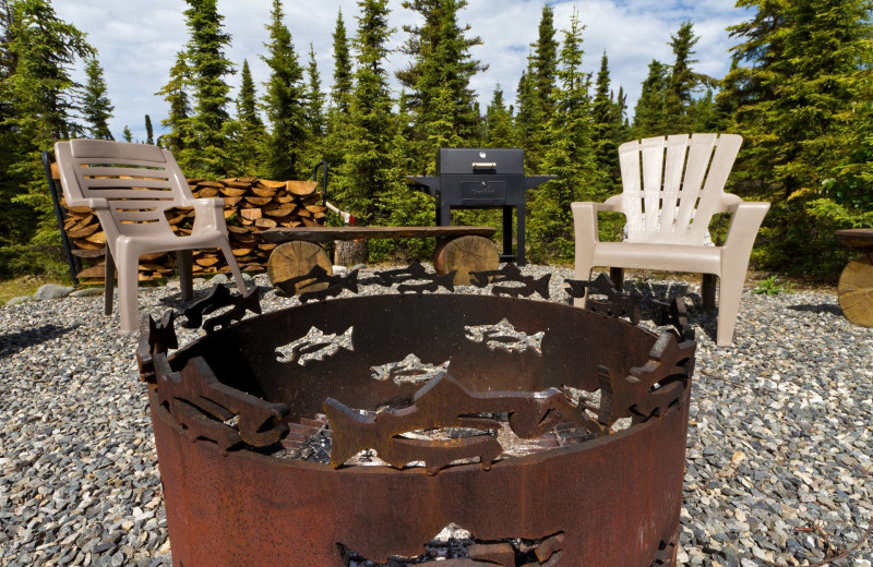 Fire pit at Salmon Catcher Lodge.