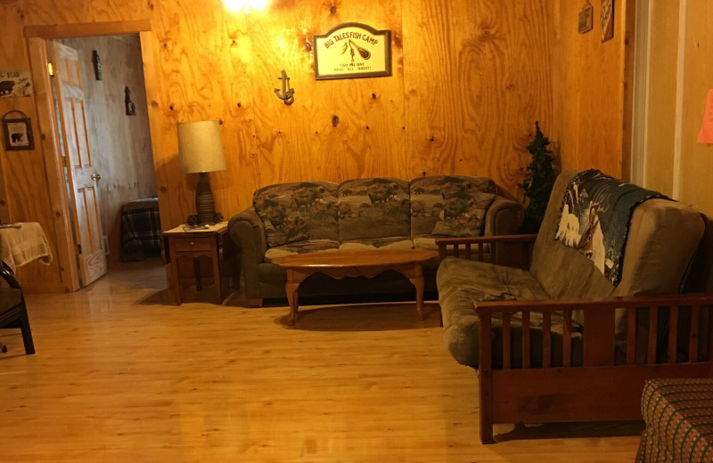 Cabin living room at Linder's HideAway Cabins.