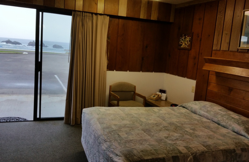Guest room at Sunset Oceanfront Lodging.