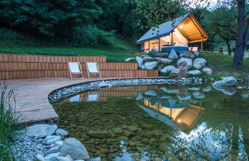 Pond at Chateau Ramšak Glamping Resort.