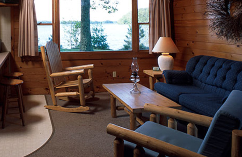 Cabin living room at Pitlik's Sand Beach Resort.