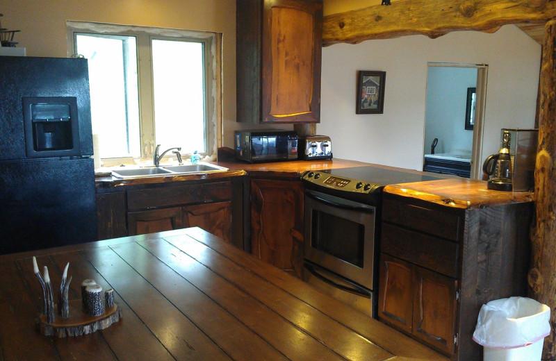 Cabin kitchen at A Wilderness Haven Resort.
