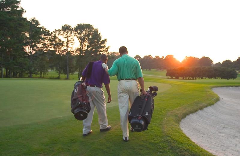 Playing golf at Callaway Gardens.