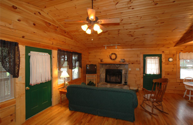 Cabin Living Area at Mountain Joy Cottages
