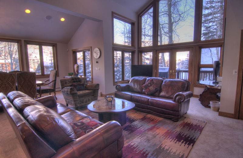 Living room at 706A Forest Road - Vail Management Company.