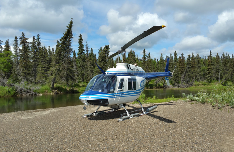 Helicopter at Alaska's Gold Creek Lodge.