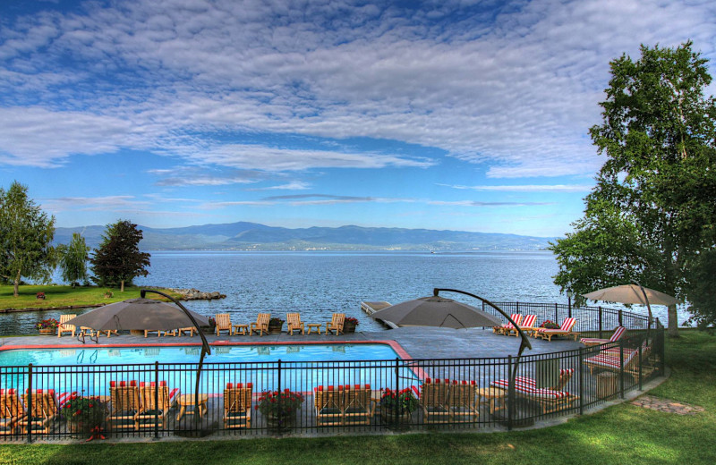 Outdoor pool at Averill's Flathead Lake Lodge.