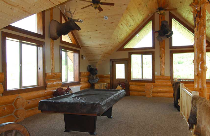 Loft billiards table at Rocky Mountain Elk Ranch.