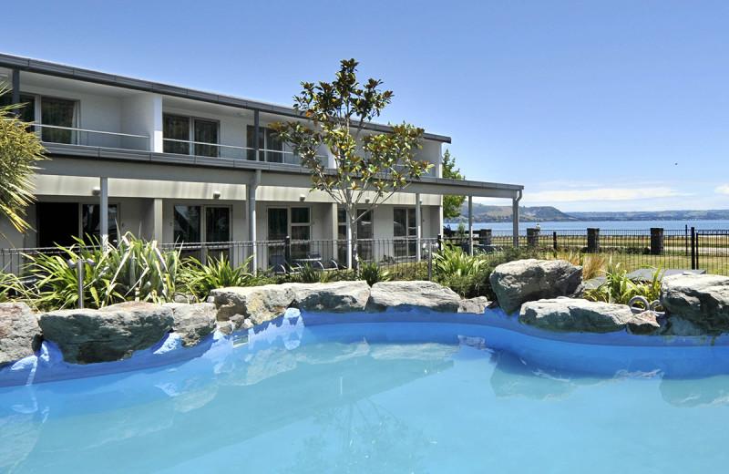 Exterior view of Wai Ora Lakeside Spa Resort.