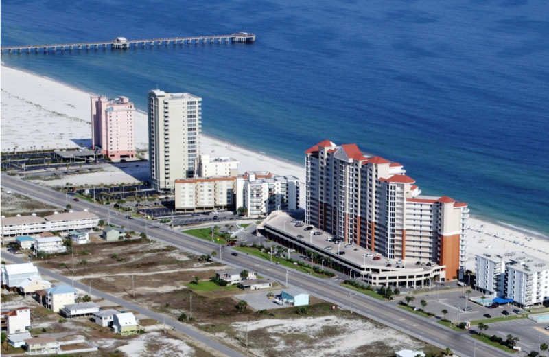 Aerial view of rental at Gulf Shores Vacation Rentals.