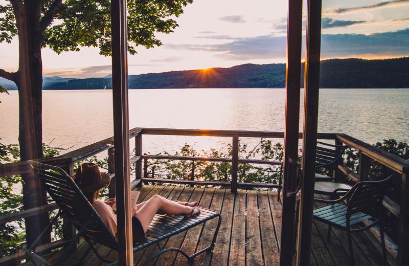 Porch views of the Adirondack Mountains at Basin Harbor.