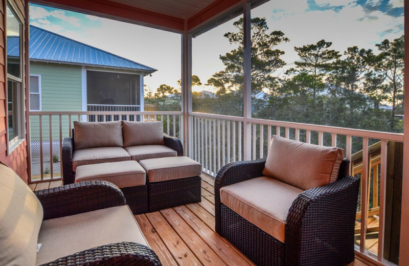 Rental deck at Luna Beach Properties.