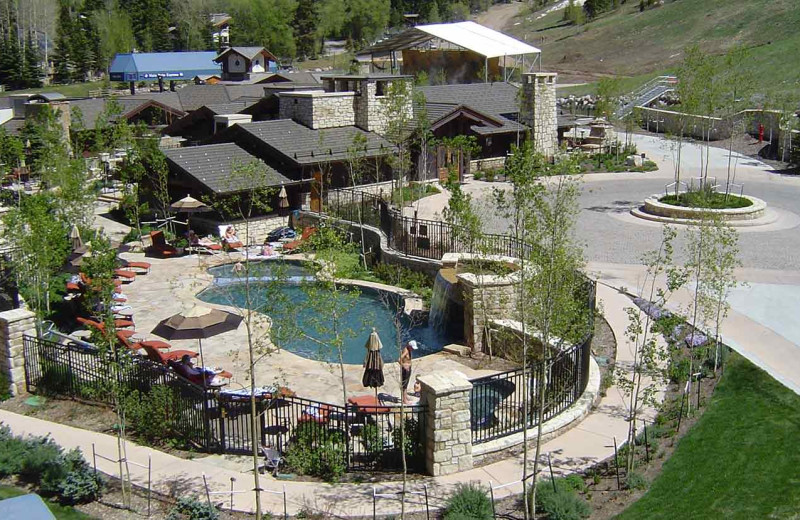 Aerial view of pool at Lodge Tower.