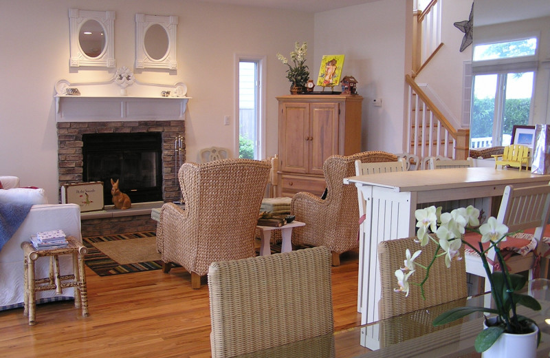 Rental living room at Shorecrest Beach House.