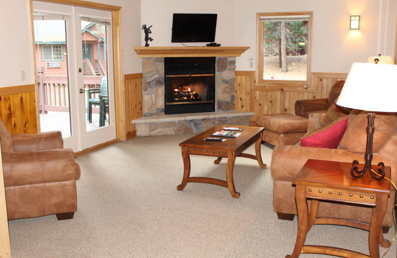 Cabin living room at Mount Shasta Resort.