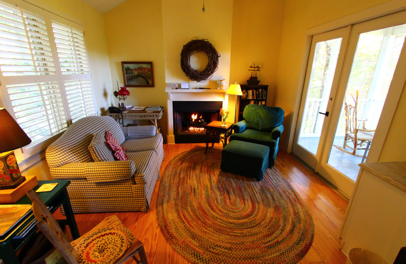 Cottage living area at Orchard Inn and Cottages.