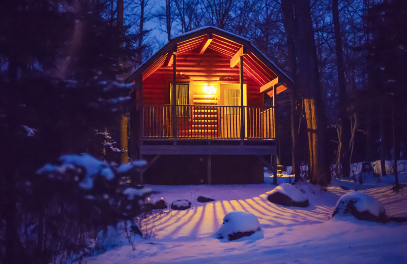 Winter cabin at Old Forge Camping Resort.
