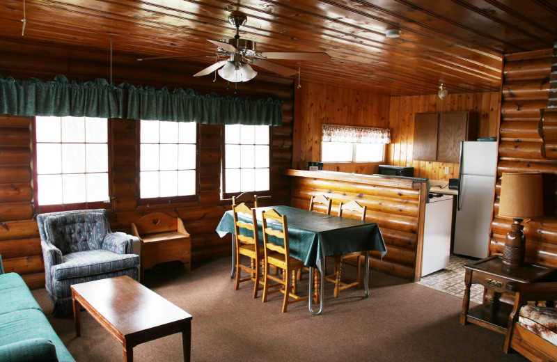 Cabin living room at Arrowhead Lodge & Resort.