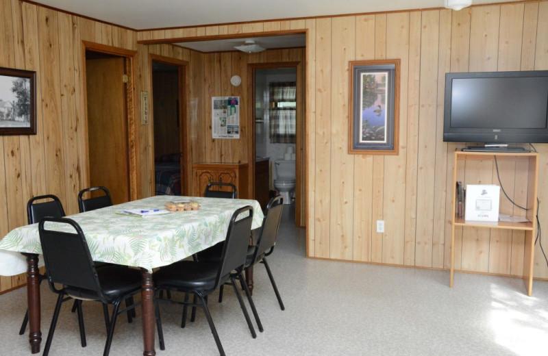 Cabin dining room at Riverside Resort.