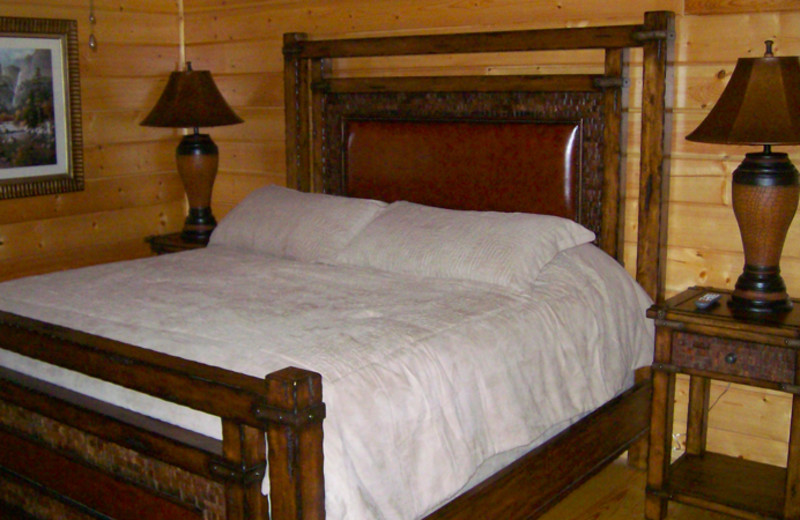 Cabin bedroom at White Oak Lodge & Resort.