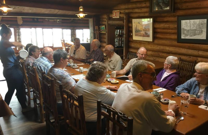 Dining at Loon Lake Lodge.
