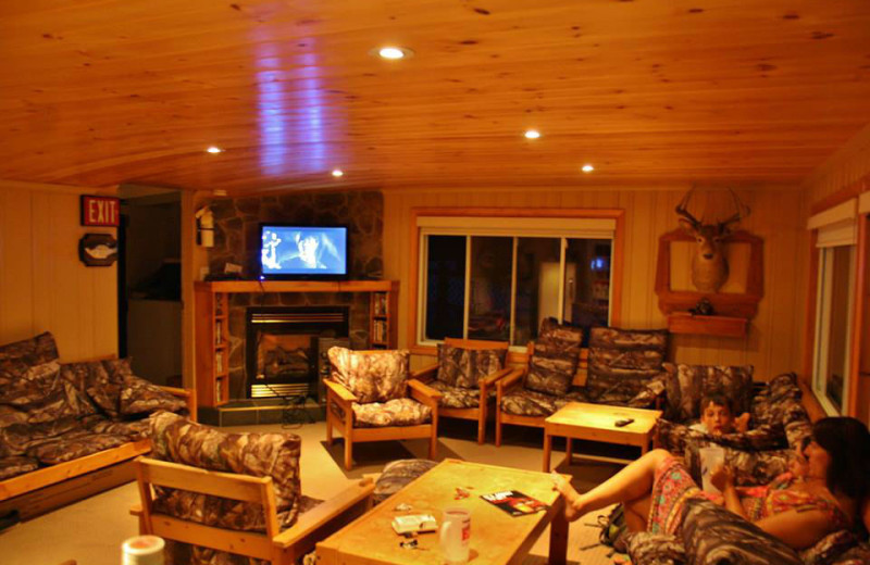 Lounge at Crooked Lake Wilderness Lodge.