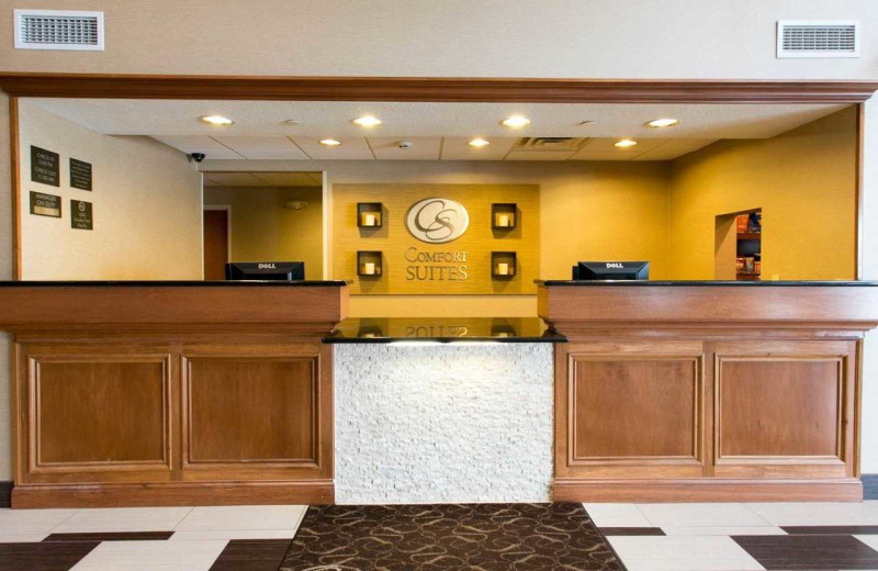 Check in desk at Comfort Suites Benton Harbor.