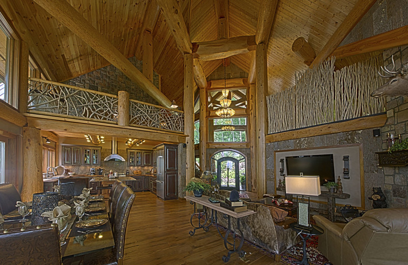 Cabin living room at Blue Ridge Vacation Cabins.