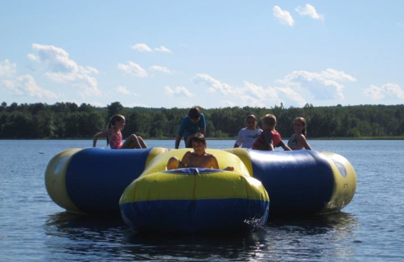 Water trampoline at Agate Lake Resort.