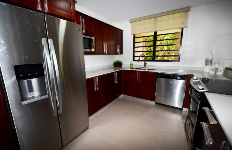 Guest kitchen at The Plaza Suites.
