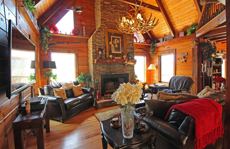 Rental living room at Bryson City Cabin Rentals.
